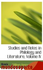 Portada de STUDIES AND NOTES IN PHILOLOGY AND LITERATURE, VOLUME IV