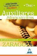 Portada de AUXILIARES ADMINISTRATIVOS DE LA UNIVERSIDAD DE ZARAGOZA. TEST