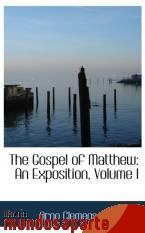 Portada de THE GOSPEL OF MATTHEW: AN EXPOSITION, VOLUME I