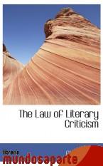 Portada de THE LAW OF LITERARY CRITICISM