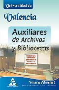 Portada de AUXILIARES DE ARCHIVOS Y BIBLIOTECAS DE LA UNIVERSIDAD DE VALENCIA: TEMARIO  : PARTE DE ADMINISTRACION GENERAL E INFORMATICA