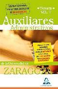 Portada de AUXILIARES ADMINISTRATIVOS DE LA UNIVERSIDAD DE ZARAGOZA. TEMARIOVOLUMEN I