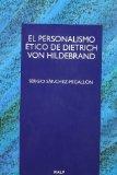 Portada de EL PERSONALISMO ETICO DE DIETRICH VON HILDEBRAND