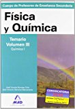 Portada de CUERPO DE PROFESORES DE ENSEÑANZA SECUNDARIA: FISICA Y QUIMICA: TEMARIO: VOLUMEN III: QUIMICA I