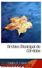 Portada de ARCHIVO MUNICIPAL DE CÓRDOBA