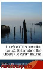 Portada de LUCRÈCE (TITUS LUCRETIUS CARUS): DE LA NATURE DES CHOSES (DE RERUM NATURA)