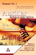 Portada de ESCALA AUXILIAR ADMINISTRATIVA DE LA UNIVERSIDAD DE CADIZ. TEMARIO