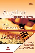 Portada de ESCALA AUXILIAR ADMINISTRATIVA DE LA UNIVERSIDAD DE CADIZ. TEST