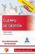 Portada de CUERPO DE GESTION DE LA ADMINISTRACION CIVIL DEL ESTADO. TEMARIO.VOLUMEN III. TURNO LIBRE. POLITICAS PUBLICAS