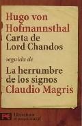 Portada de CARTA DE LORD CHANDOS SEGUIDA DE LA HERRUMBRE DE LOS SIGNOS