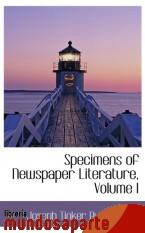 Portada de SPECIMENS OF NEWSPAPER LITERATURE, VOLUME I