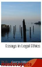 Portada de ESSAYS IN LEGAL ETHICS