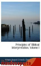 Portada de PRINCIPLES OF BIBLICAL INTERPRETATION, VOLUME I