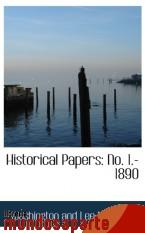 Portada de HISTORICAL PAPERS: NO. 1.-1890