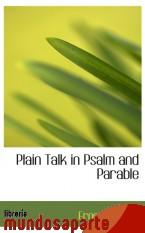 Portada de PLAIN TALK IN PSALM AND PARABLE