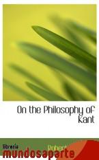 Portada de ON THE PHILOSOPHY OF KANT
