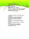 Portada de UNIVERSAL MENTALITY, CRIST CARTER, INGLES A BOOK,A GOOD PHILOSOPHY OF LIFE